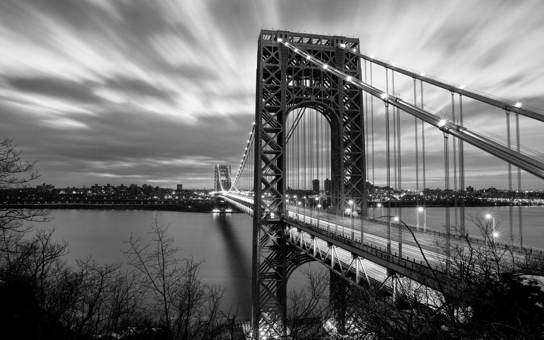 Bridge BW River George Washington Bridge New Jersey wallpaper