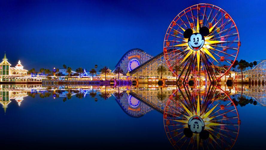 Disneyland California Adventure Land Ferris Wheel Roller Coaster Reflection wallpaper