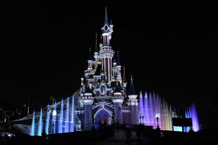 Disneyland Castle Paris Black Night wallpaper