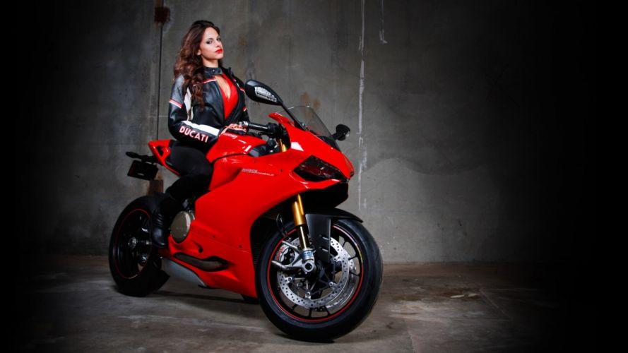 Ducati 1199 Sportbike Brunette women females girls r wallpaper