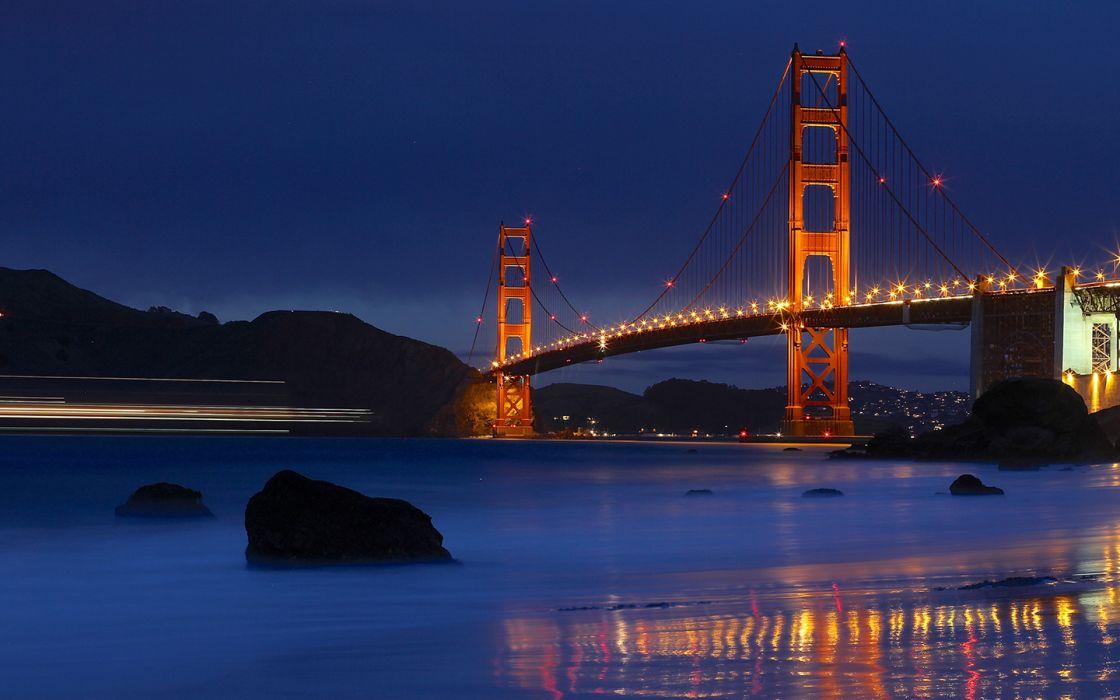 Golden Gate Bridge Bridge San Francisco Night Timelapse Shore Ocean Wallpaper 1440x900 45193 Wallpaperup