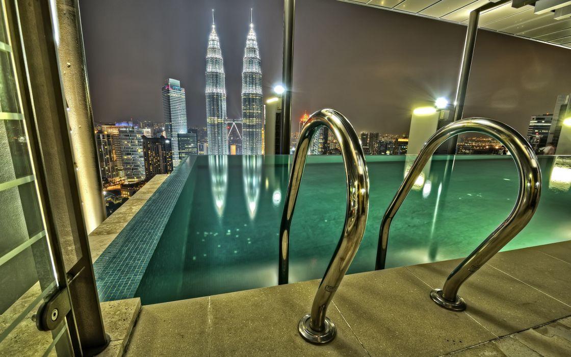 Infinity Pool Kuala Lumpur Buildings Skyscrapers Pool cities wallpaper