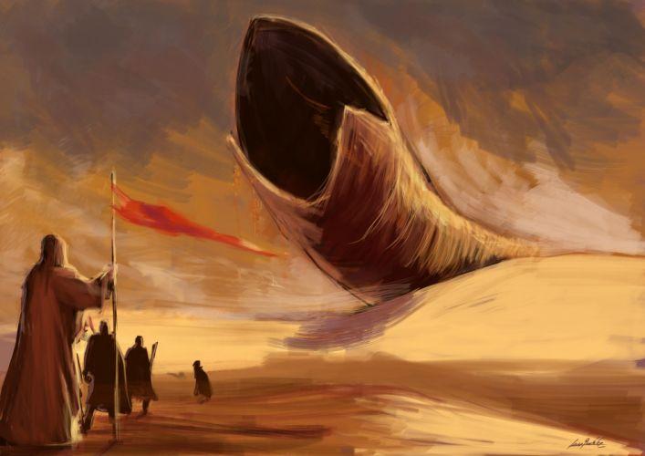 Dune Drawing Monster Shai-Hulud sci-fi movies desert wallpaper