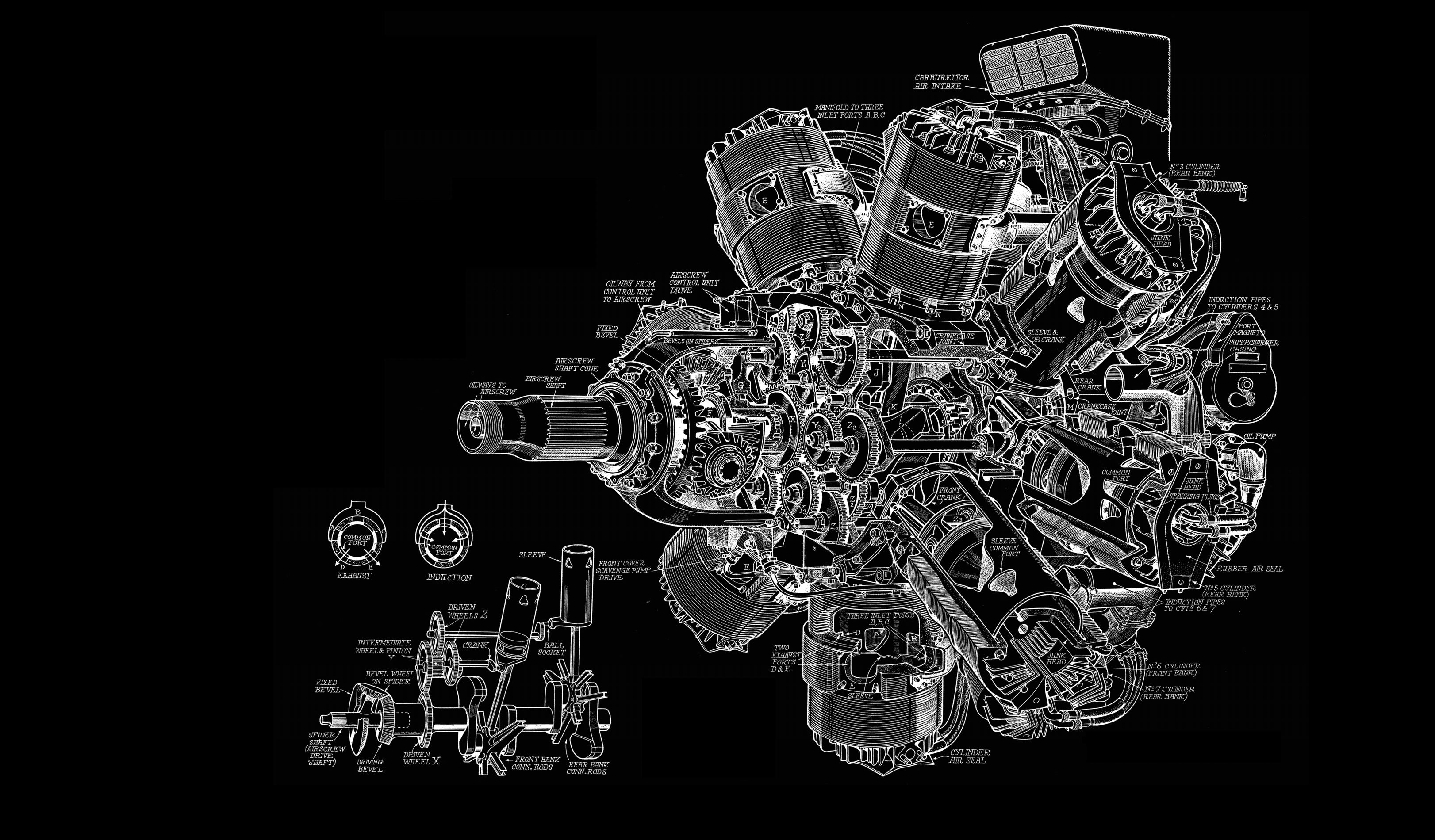 Engine Diagram Bw Black Aircraft Airplane Wallpaper 3244x1900 Piston 45219 Wallpaperup