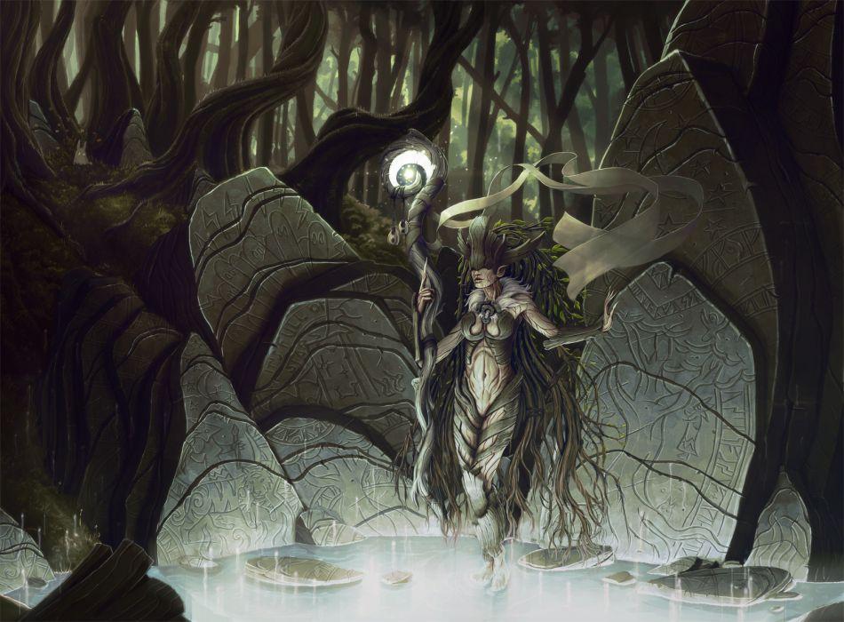 fantasy trees forest women females girls magic goddess wallpaper