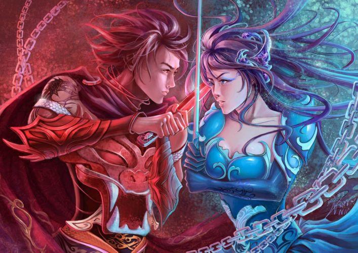 fantasy warrior women females girls men males weapons battle sword wallpaper