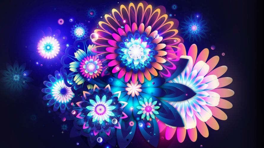 flowers neon color wallpaper