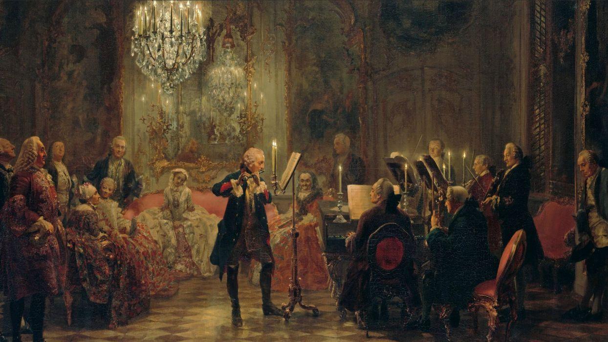 Frederick the Great The Flute Concert of Sanssouci Menzel Painting Flute Victorian Concert wallpaper