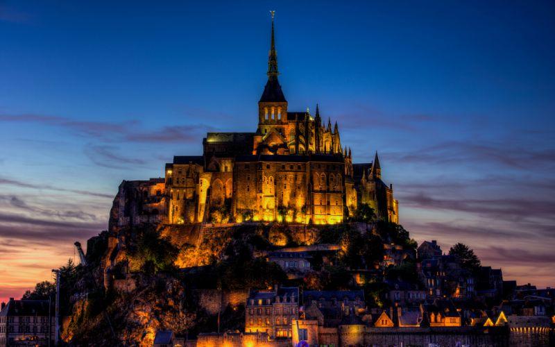 Mont Saint-Michel Castle buildings wallpaper