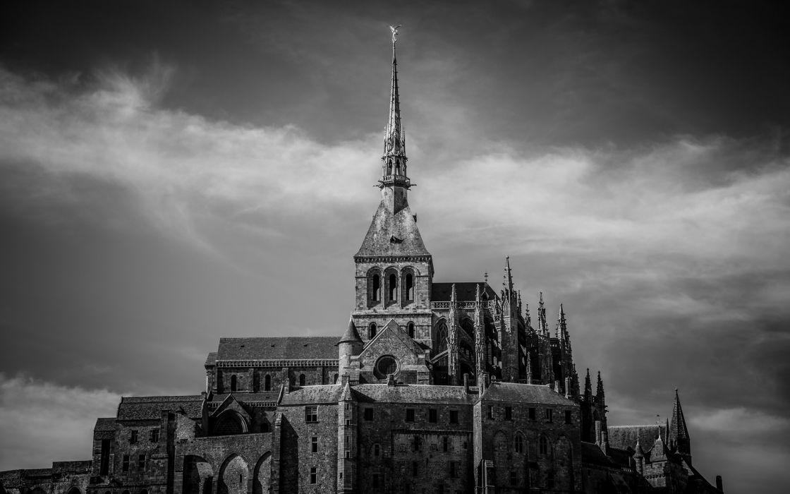 Mont St_ Michel castle buildings black white wallpaper