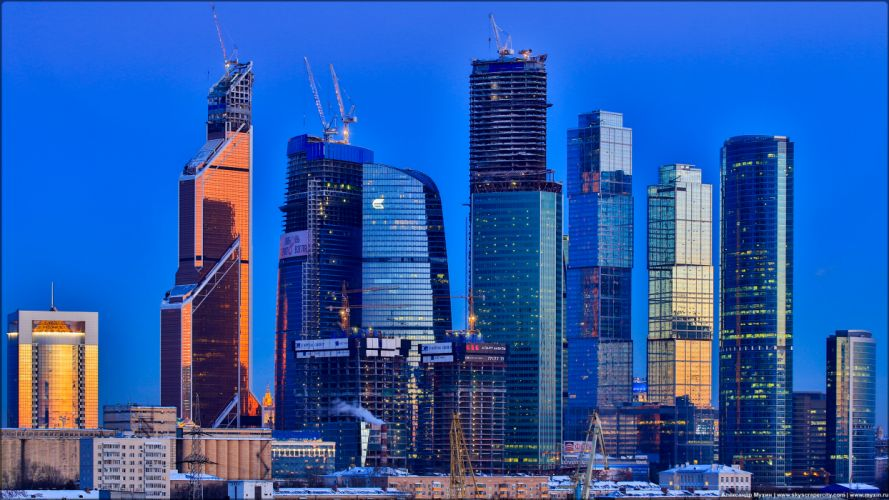 Moscow Buildings Skyscrapers Blue wallpaper