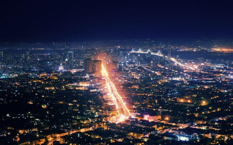 Night Building Light Bridge skyscraper wallpaper