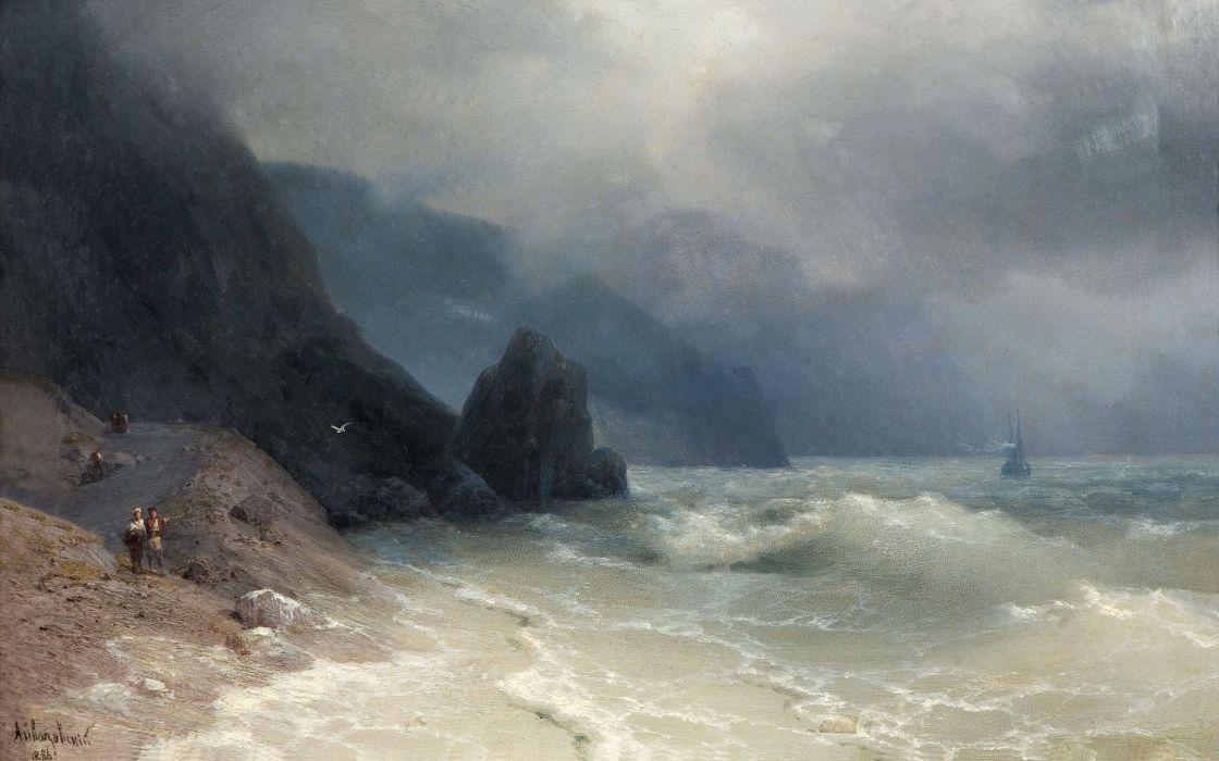 Painting Beach Ocean fog ship boat people waves storm wallpaper