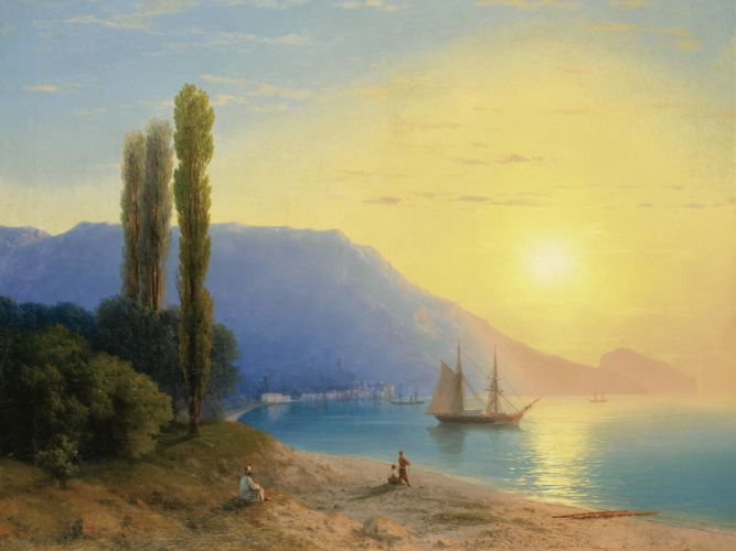 Painting Shore Ship ocean sunset beaches children wallpaper