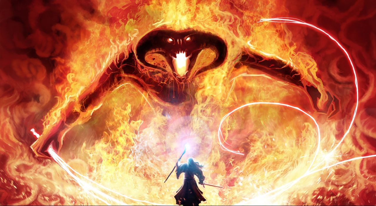 LLord of the Rings Gandalf magician magic monster Balrog whip sword staff movies demon fire wallpaper