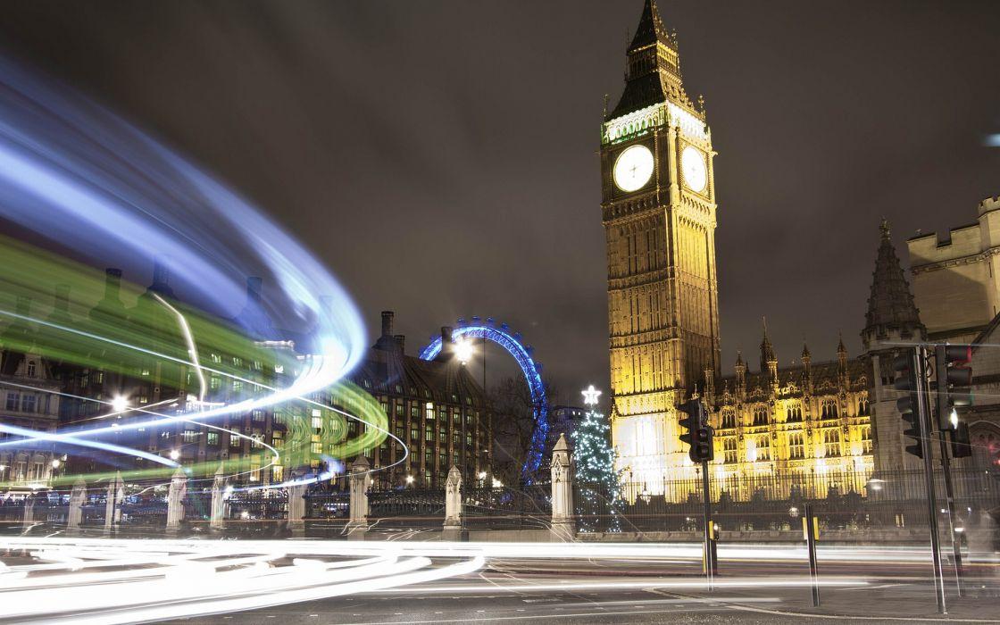 London Big Ben Clock Tower Buildings Timelapse roads wallpaper