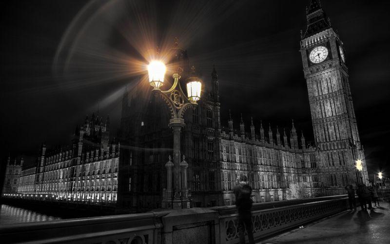London Big Ben Clock Tower Colorsplash Lights Building wallpaper