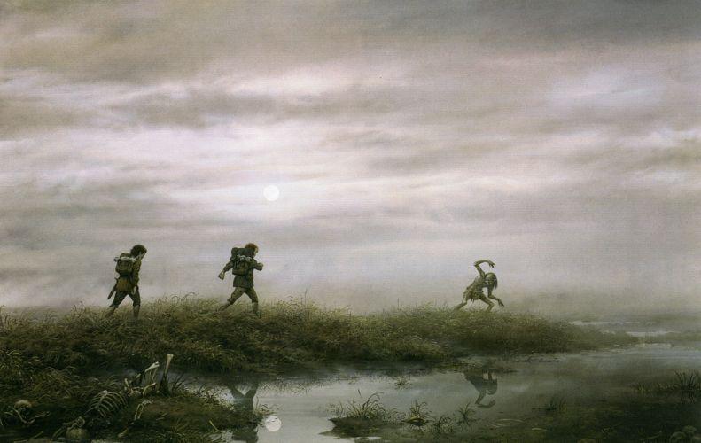 Lord of the Rings fantasy movies gollum dark skeleton skull fog wallpaper