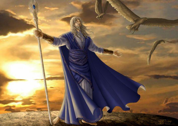 Manwe Sulimo Birds Sunset Staff fantasy sunset wizard magic wallpaper
