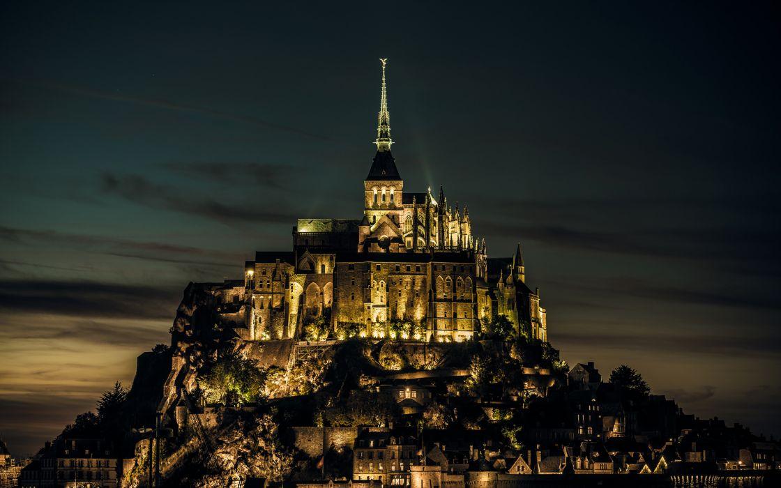 Mont Saint-Michel Castle buildings night lights sky wallpaper