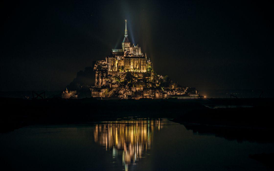 Mont Saint-Michel Castle buildings night lights wallpaper