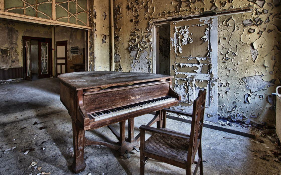 piano mood decay ruin abandonment wallpaper