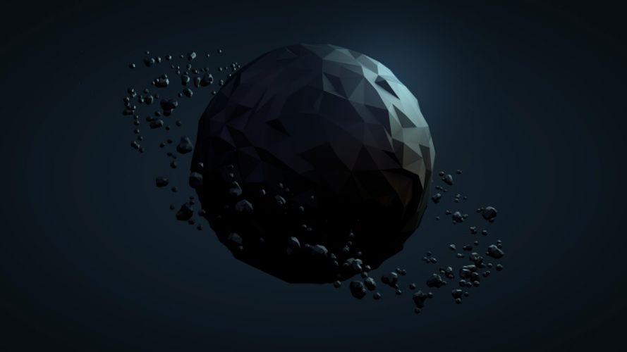 Planet Debris Abstract Polygon Art sci-fi wallpaper