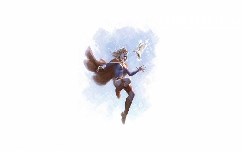Power Girl DC Bird Drawing Dove White wallpaper