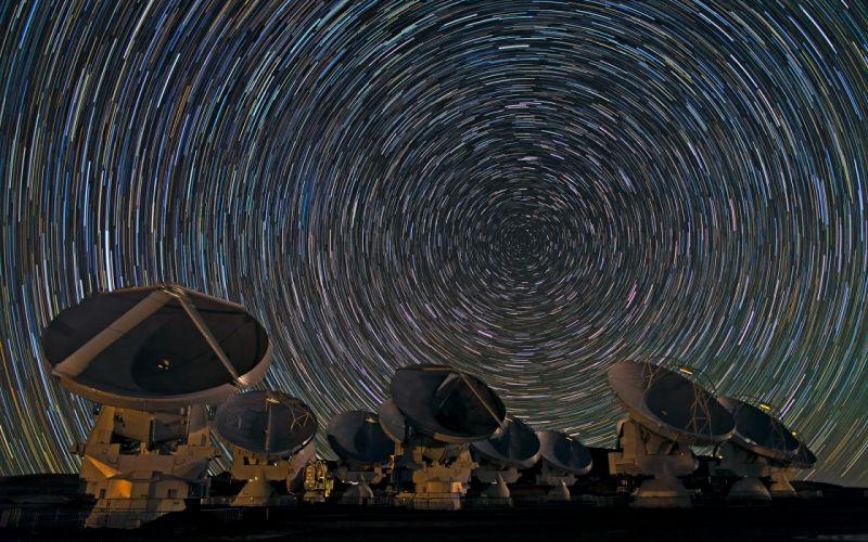 Radio Telescope Stars Timelapse Array sky technology sci-fi wallpaper