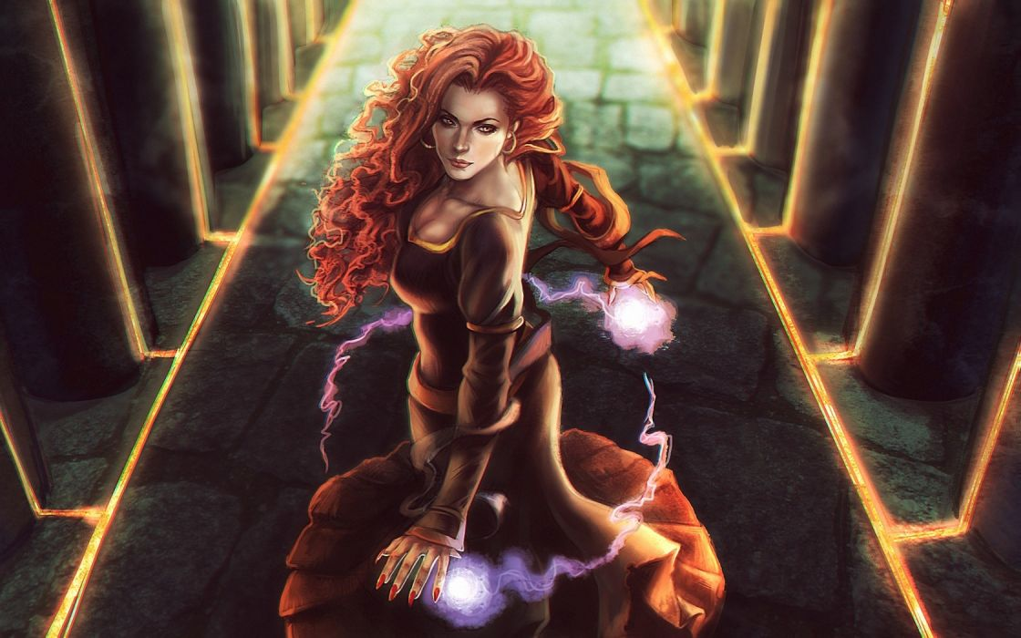 Redhead Magic Drawing fantasy women females girls wallpaper