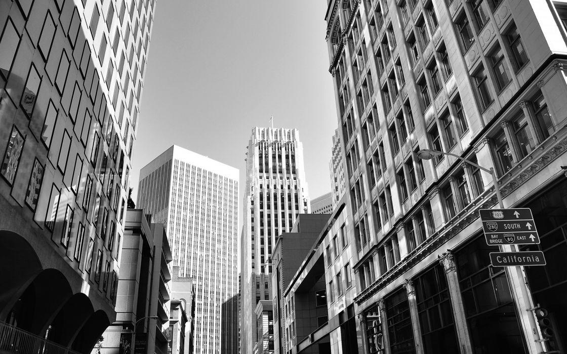 San Francisco Buildings Skyscrapers BW black white wallpaper