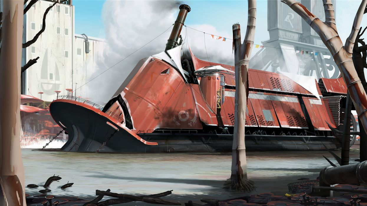 Ship Drawing sci-fi futuristic buildings wallpaper