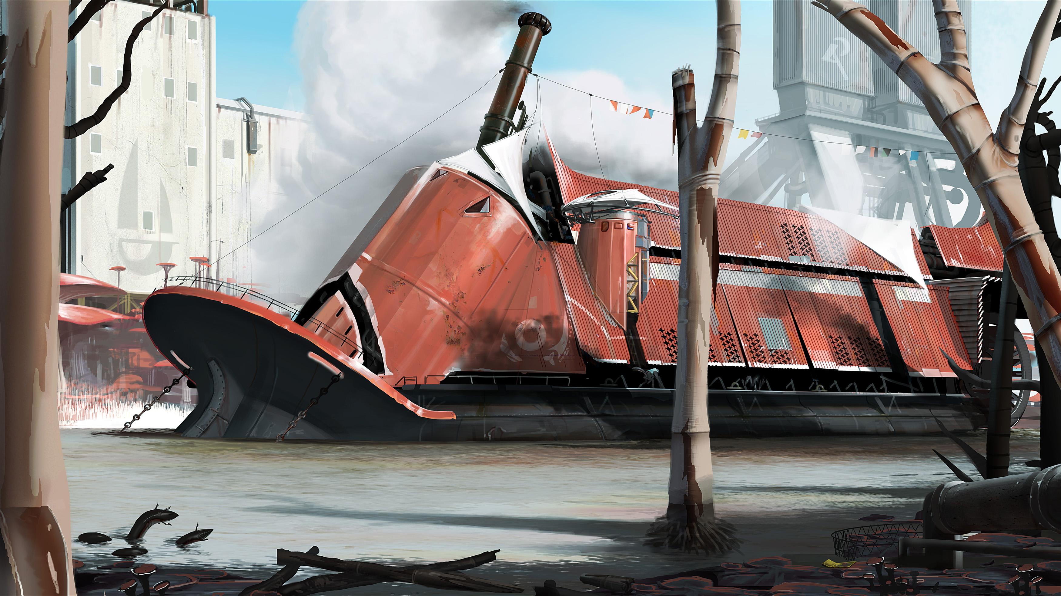 Futuristic Buildings Drawings Ship Drawing Sci-fi Futuristic