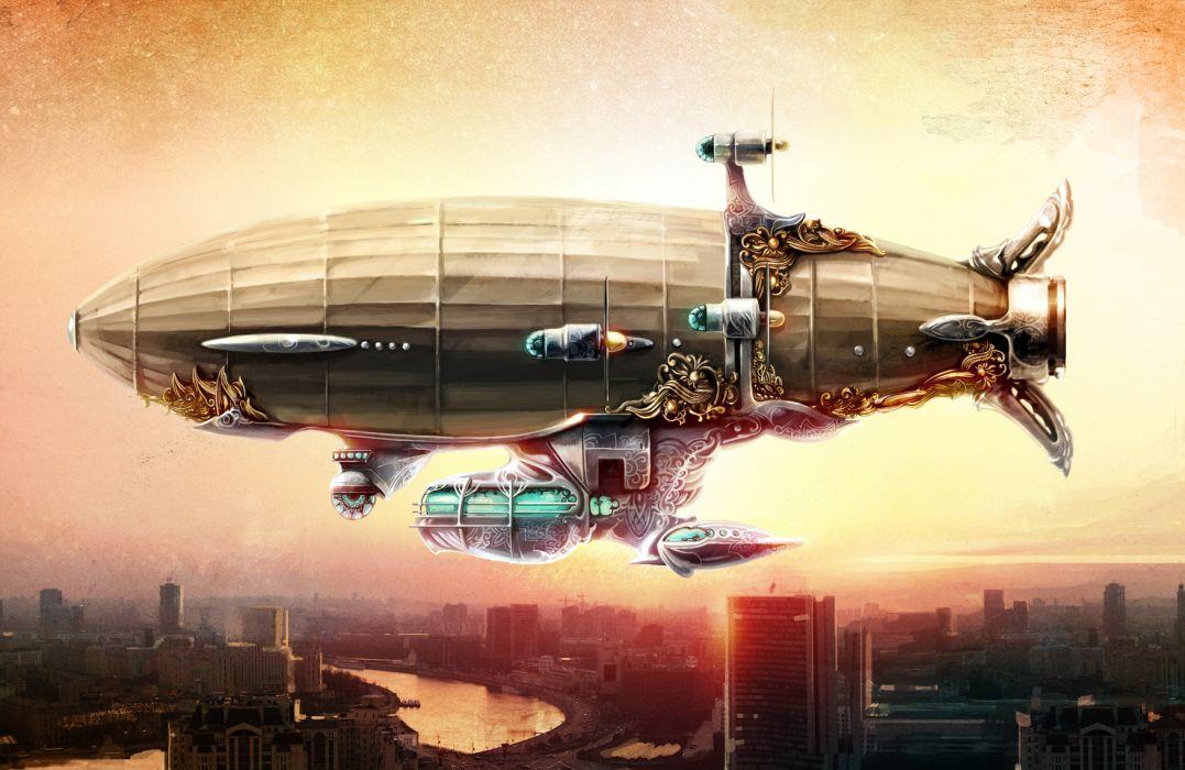 Steampunk Blimp sci-fi fantasy wallpaper