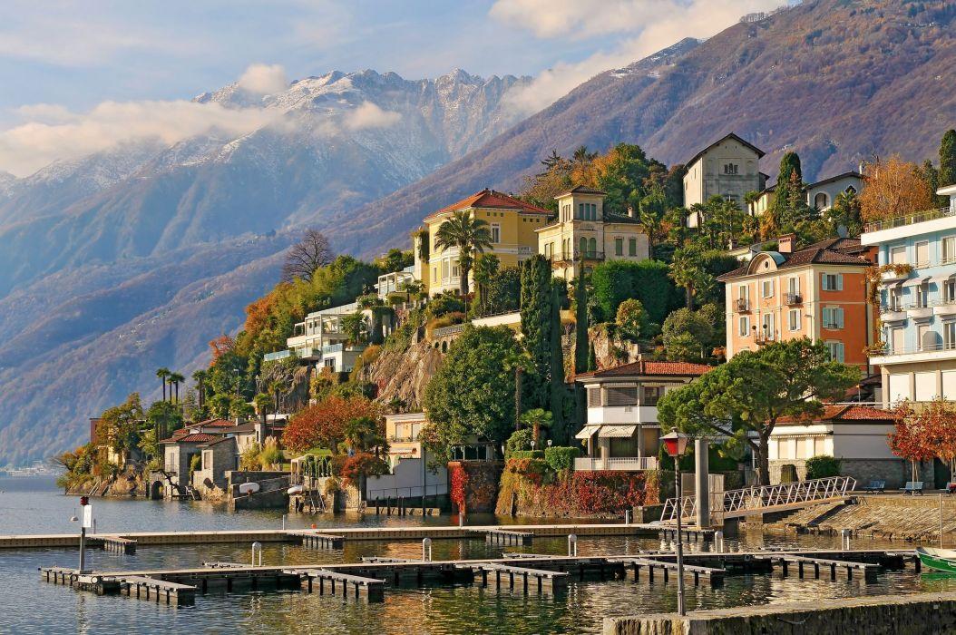 Switzerland Ascona Switzerland mountains buildings Ascona trees lakes house wallpaper