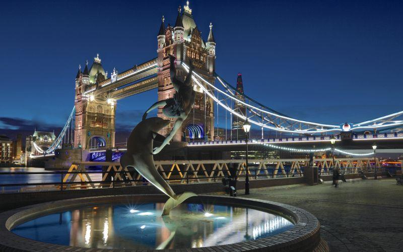 Tower Bridge London Bridge Night Fountain Dolphin wallpaper