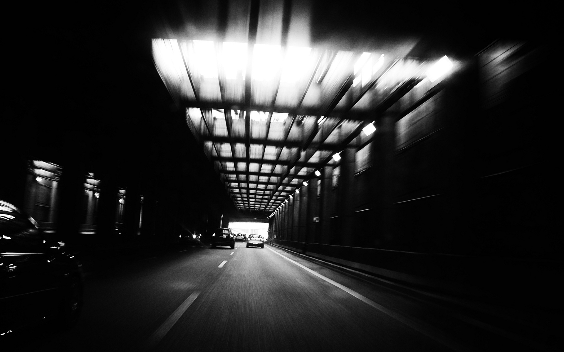 Tunnel BW Road Black White Cars Wallpaper | 1920x1200 | 45312 | WallpaperUP