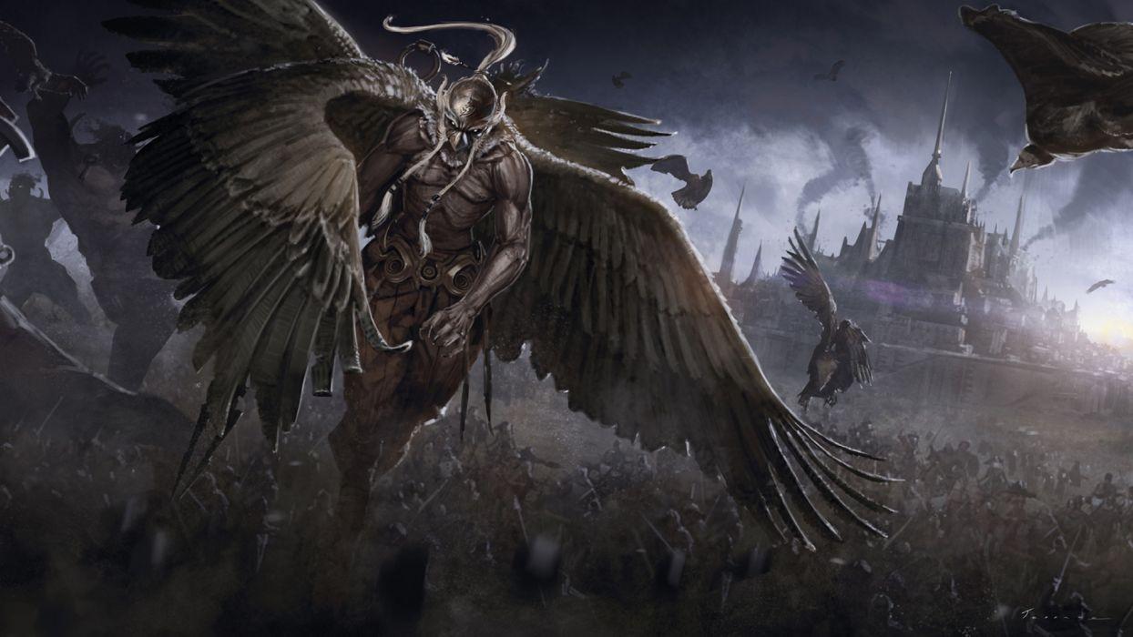 warrior battle army creatures war cities castle dark wallpaper