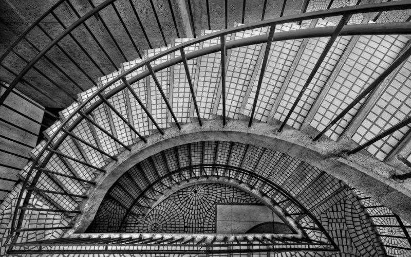 stairs spiral black white wallpaper