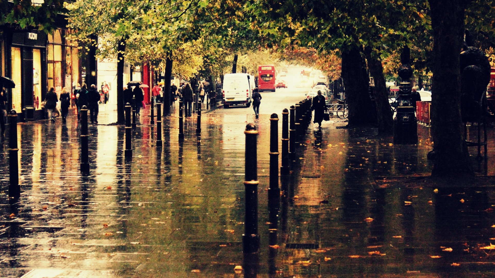 Autumn city street rain people sidewalk reflection trees ...