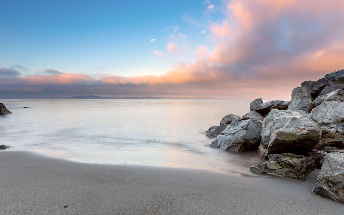 Beach Rocks Stones Ocean wallpaper