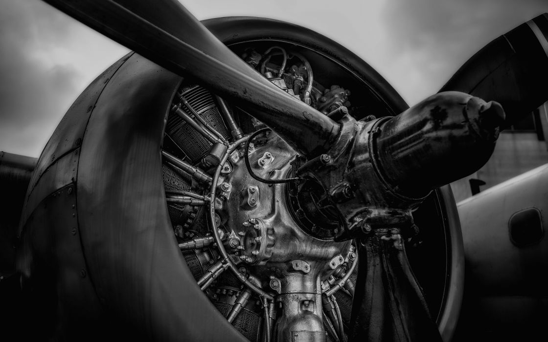Airplane Plane Engine Propeller black white wallpaper