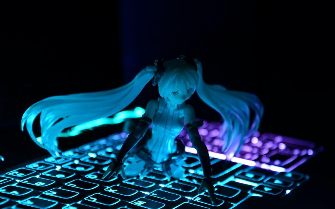 Anime Miku Vocaloid Blue Keyboard Figure Wallpaper