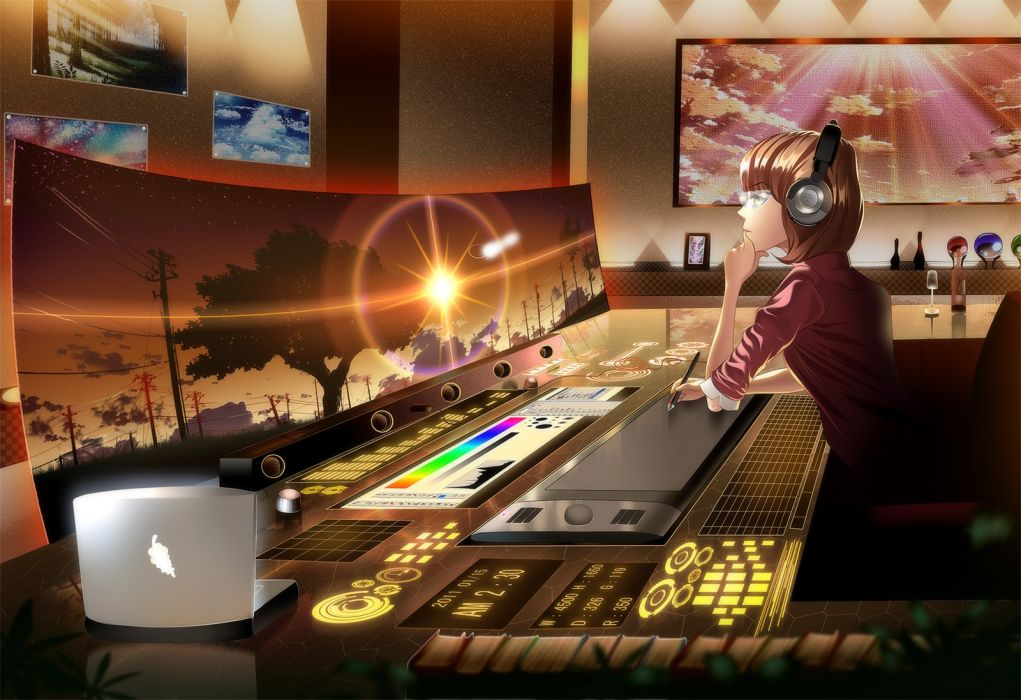 Anime Screen Headphones Desk Computer original wallpaper