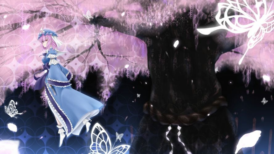 art girl dress cherry blossoms tree petals radiance butterfly night ligature tape wallpaper