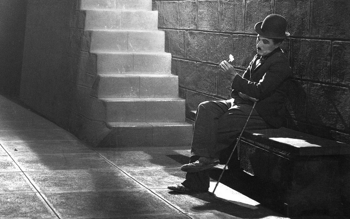 Charlie Chaplin BW Hat Stairs men males black white actor retro wallpaper