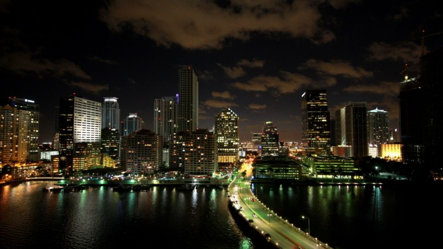 Cityscapes Usa Florida Skyscrapers Miami bridges roads buildings wallpaper