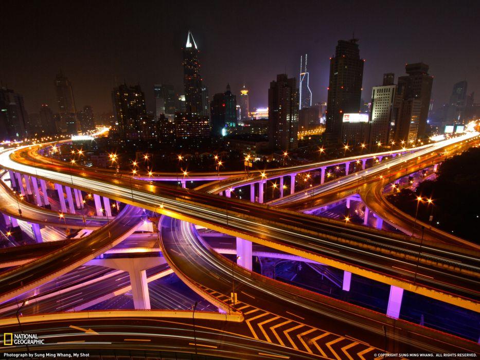 Buildings Skyscrapers Freeway Highway Shanghai Timelapse Night roads wallpaper