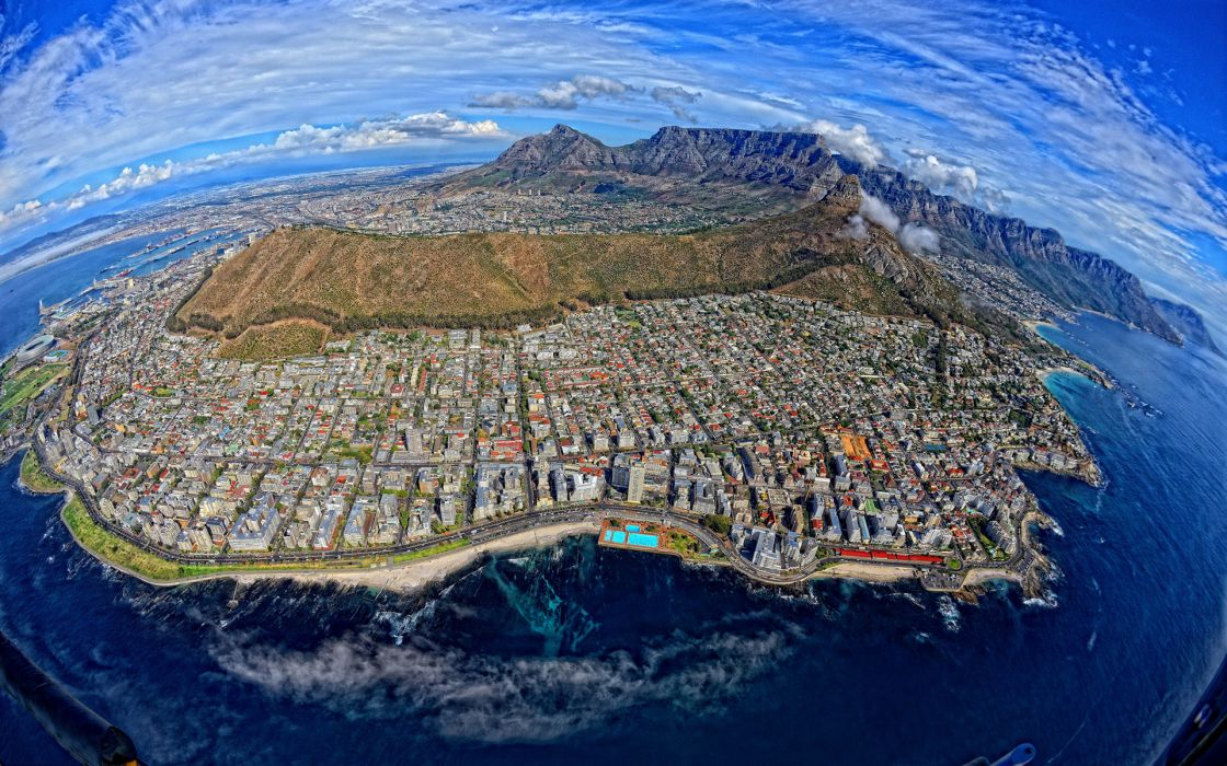 Cape Town South Africa Buildings Mountains Aerial Coast      r wallpaper