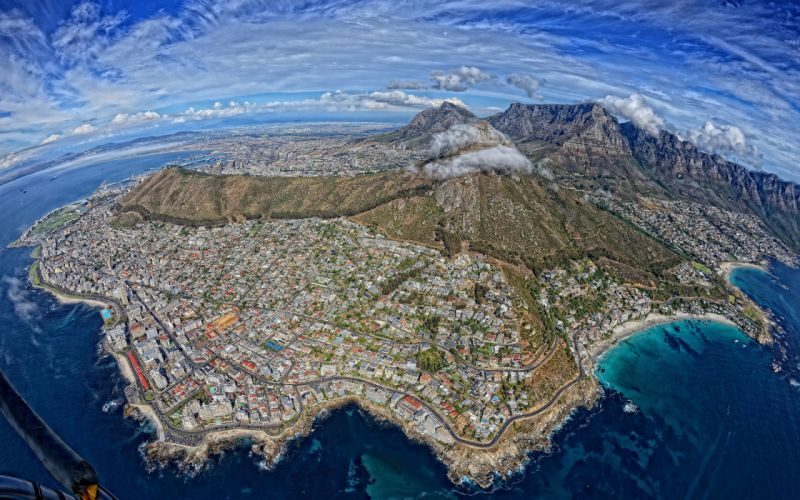 Cape Town South Africa Buildings Mountains Aerial Coast e wallpaper